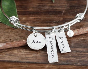 Personalized Bracelet for Mom, Mother's Charm Bracelet, Mother's Day Gift for Mom, Name Bracelet, Kids Name Bracelet, Gift for Her