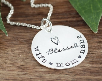 Blessed Mom Necklace, Wife Mom Nana, Mothers Day Gift, Sterling Silver Necklace, Gift for Mom, Blessed Mom, Blessed Grandma,Gift for Grandma