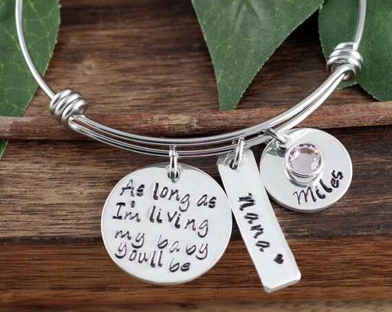 Bangle Bracelet for Mom, Mothers Day Gift, Custom Bracelet, Personalized, Mom Charm Bracelet, As long as I'm Living, Grandma Bracelet