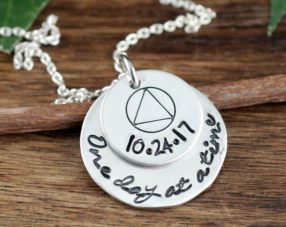 One day at a Time Necklace, Personalized Sobriety Jewelry, Sobriety Necklace, Sobriety Date Jewelry, Sobriety Gift, Sober Date Jewelry