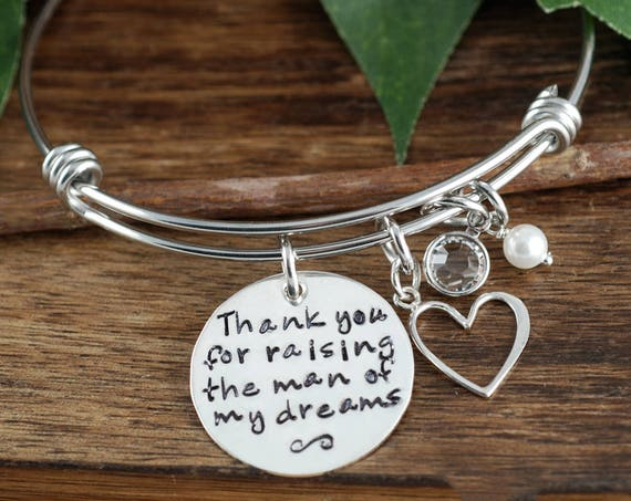 Mother of the Groom, Thank you for raising the man of my Dreams, Personalized Bracelet, Wedding Gift for Mom, Gift for Mom of Groom