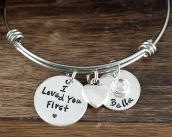 I Loved you First Bracelet, Personalized Jewelry, Gift for Daughter, Gift for Teenager, Charm Bracelet, Daughter Bracelet, GIft for Her