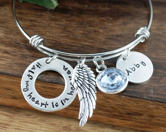 Half my Heart is In Heaven, Memorial Angel Bangle Bracelet, Bereavement Jewelry, Hand Stamped Bracelet, Parent Loss, Loss of Parent