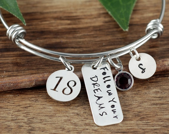 Graduation Gift, Follow your Dreams, 2018 Personalized Graduation Bracelet, Inspirational Gift, Class of 2018 High School,College Graduation