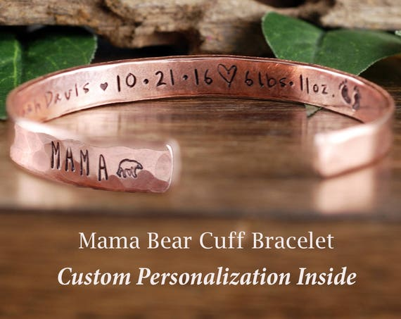 Mama Bear Cuff Bracelet, Baby Stats, Custom Cuff Bracelets, Personalized Mama Bear Jewelry, Mother Bracelet, Mama Bear Jewelry, Gift for Mom