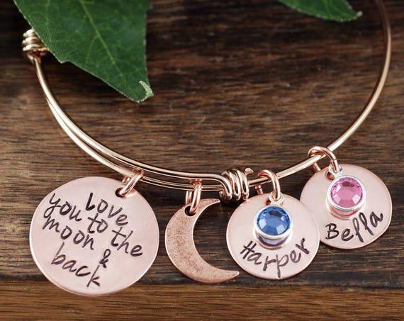 Personalized Grandma Bracelet, Love you to the Moon and Back Bracelet, Custom Bracelet, Signature Jewelry, Engraved Bracelet, Gift for Mom