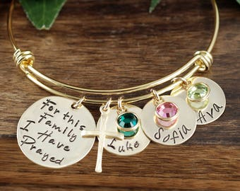 For this Family I have Prayed, Personalized Mothers Bracelet, Mommy Bangle Bracelet, Personalized Mom Bracelet, Gift For Mom, Kids Names
