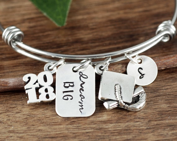 2018 Personalized Graduation Gift, Dream Big, Graduation Bracelet, Inspirational Gift, Class of 2018 High School, College Graduation Gift