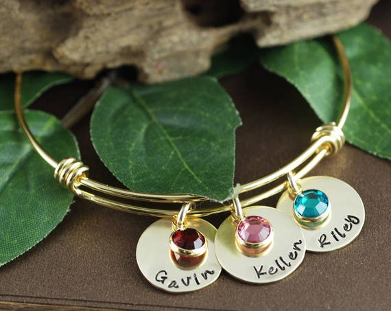 Personalized Gold Name Bracelet, Mothers Name Bracelet, Gold Mommy Bracelet, New Mom Bracelet, Gift for Mom, Child's Name Bracelet