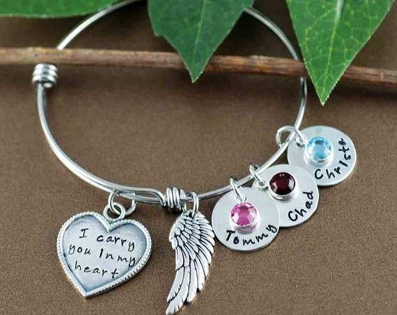 I Carry You in My Heart Bracelet, Memorial Bracelet, Personalized Memorial Bangle Bracelet, Miscarriage Gift, Loss of Child Gift