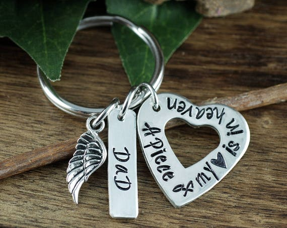 Personalized Memorial Keychain | Remembrance Keychain | Sympathy Gift | Loss of Loved One | Custom Keychain | Piece of my Heart is in Heaven