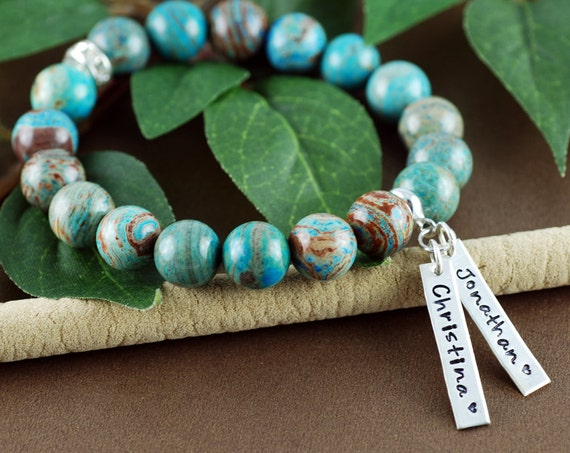 Personalized Name Bracelet, Imperial Turquoise Stretch Bracelet, Custom Name Bracelet, Best Friend Bracelet, Gift for Mom, Gift for Daughter