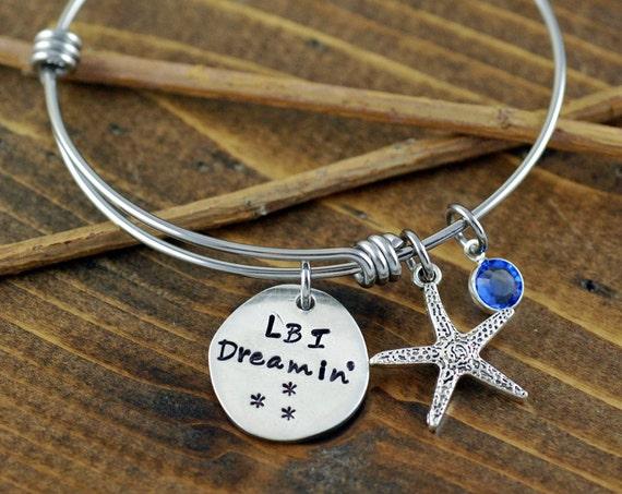 Beach Jewelry - Hand Stamped Bracelet - Long Beach Island Jewelry - Personalized Bangle Bracelet - Starfish Jewelry