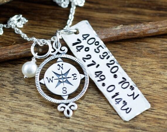 Latitude Longitude Necklace, Coordinates Necklace, Personalized Compass Necklace, Travel Necklace, Journey Necklace, Best Friend Necklace
