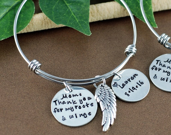 Mom Thank You for my Roots and Wings, Bridal Gift for mom, Bracelet for Mom, Personalized Bracelet for Mom, Hand Stamped Bracelet