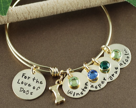 For the Love of Dogs Bracelet, Dog Mommy Jewelry, Dog Jewelry, Hand Stamped Jewelry, Personalized Dog Bracelet , Pet Lover Jewelry, Dog Mom