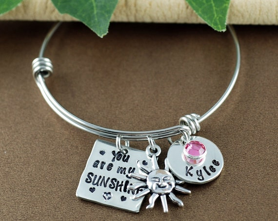 Personalized You are my Sunshine Bangle Bracelet | Hand Stamped Bangle Bracelet | Personalized Jewelry | Sunshine Jewelry | Gift for Her