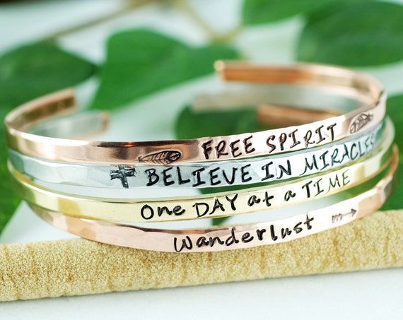 Inspirational Cuff Bracelet, Quote Bracelets, Stackable Cuff Bracelets, Silver Cuff Bracelet, Personalized Cuff Bracelet, Skinny Cuffs