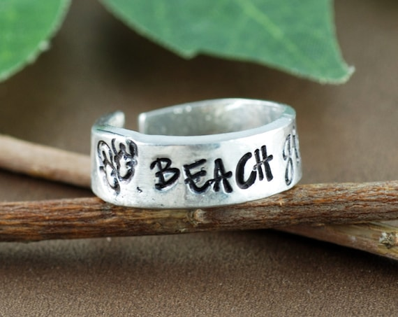 Beach Girl Ring, Beach Jewelry Ring, Personalized Pewter Ring, Gift for Beach Lover, Custom Cuff Ring, Flip Flop Ring, Gift for Her