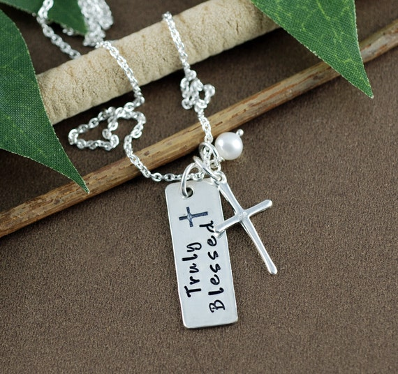 Truly Blessed Necklace, Silver Cross Necklace, Communion Jewelry, Confirmation Jewelry, Dog Tag Necklace, Personalized Jewelry, Gift for her
