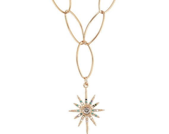 14k gold Filled Starburst Charm Necklace, Pave Star Charm, Rainbow Cubic Zirconia, Link Necklace, Dainty Minimalist, Layering Necklaces