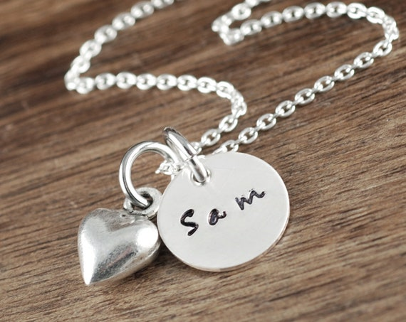 Hand Stamped Name Necklace, Personalized Name Jewelry, GIft for Mom, Kids Name Necklace, Mother's Day Gift, Mother's Necklace