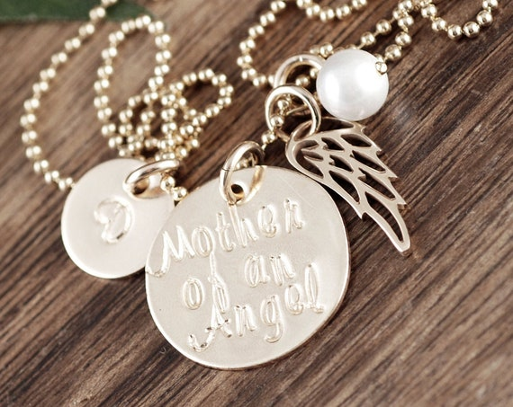 Personalilzed 14kt Gold Filled Memorial Necklace, Mother of an Angel, Miscarriage, Remembrance Necklace, Infant Loss, Miscarriage Gift