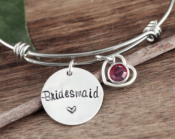 Bridesmaid Gift, Personalized Bridesmaid Bracelet, Engraved Bangle Bracelet, Hand Stamped Bracelet, Wedding Party Gift, Maid of Honor Gift