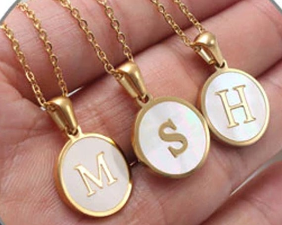 Gold Shell Initial Necklace, Initial Pendant Necklace, Layer Necklace, Letter Necklace, Necklace Gift for Her, Initial Necklace, 18K Plated