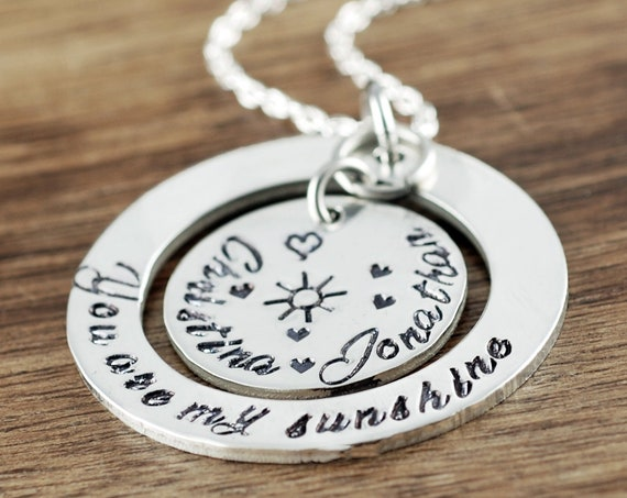 Personalized Necklace for Mom, You are my Sunshine Jewelry, Hand Stamped Necklace, Personalized Necklace, Christmas Gift or Mom