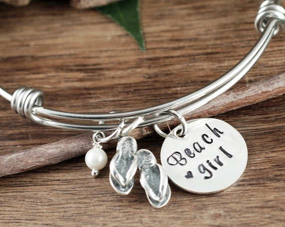 Beach Girl Bracelet, Bangle Bracelet, Beach Girl Jewelry, Handstamped Bracelet, Flip Flop Charm Bracelet, Summer Jewelry, Beach Gift Ideas