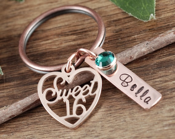 Personalized Sweet 16 Keychain, Sweet Sixteen Jewelry, Sweet 16 Gift, Gift for Teenager, 16th Birthday Gift, Hand Stamped, Sweet 16 Birthday
