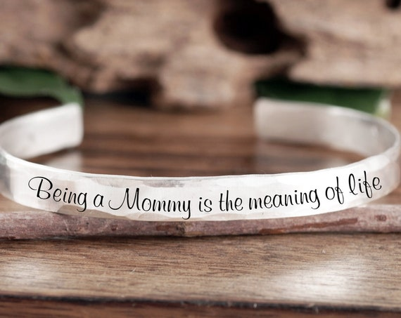 Personalized Mom Gift, Gift from Daughter, Custom Cuff Bracelet, Gift for Mom, Mommy Jewelry, Mother's Day, Gift From Son, New Mom Gift
