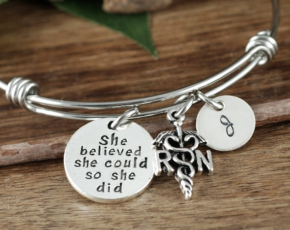 She believed she Could So she Did Bracelet, RN Graduation Gift, RN Bracelet, Nurse Gift, Nurse Graduation Gift, Gift for Nurse