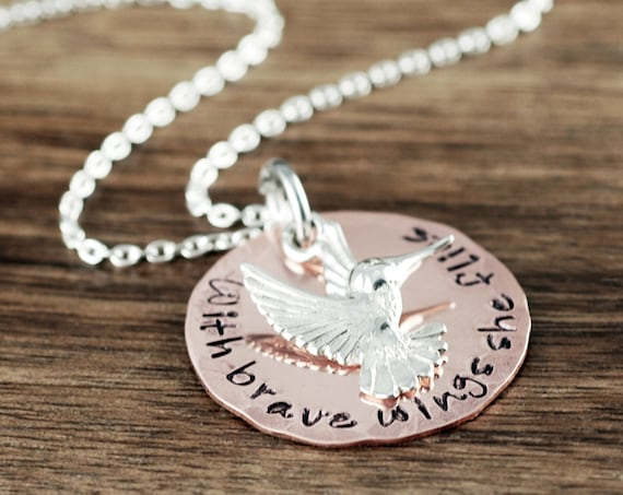 Hummingbird Necklace, With brave wings she flies, Silver Hummingbird Necklace, Graduation Necklace, Inspirational Jewelry, Gift for Daughter