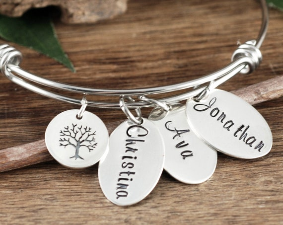 Sterling Silver Mom Bracelet, Custom Name Bracelet, Tree of Life Bracelet for Grandma, Personalized Name Bracelet, Mother's Bracelet