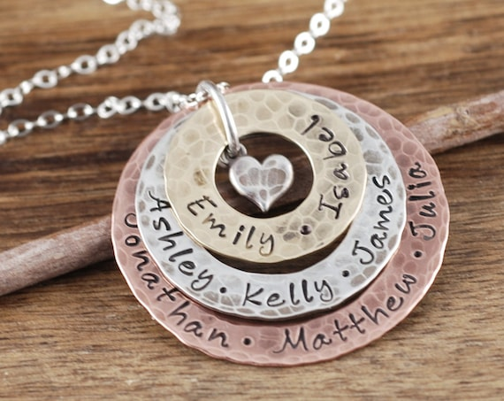 Personalized Grandma Necklace, Mixed Metal Necklace, Custom Mom Necklace, Necklace with Kids Names, Gift for Grandma, Grandma Necklace