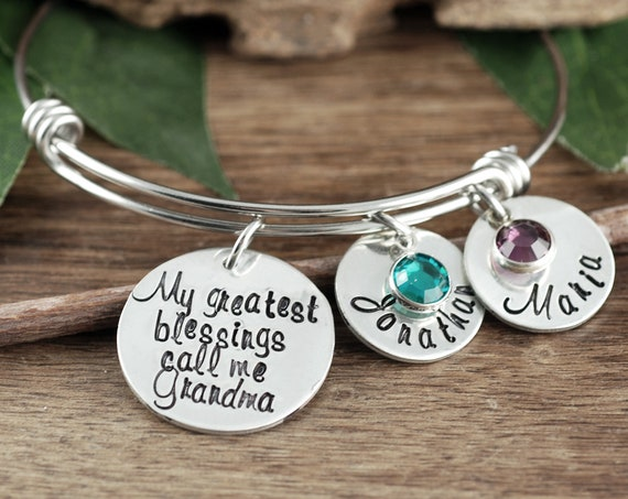 My Greatest Blessings, Personalized Grandma Bracelet, Personalized Charm Bracelet, Gift for Grandma, Mothers Day Gift, Name Bracelet