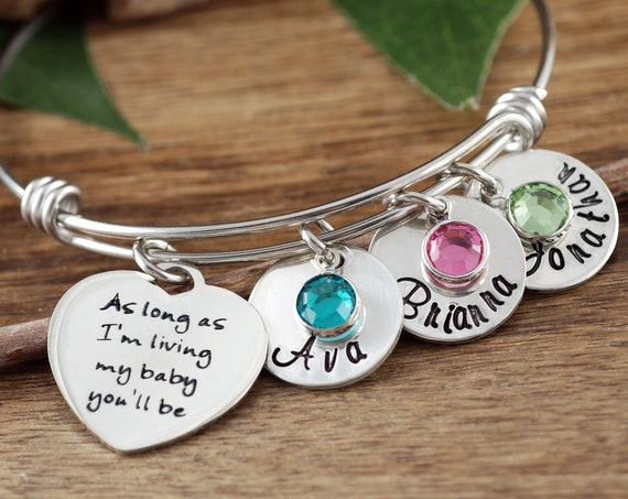 As long as I'm Living my Baby You'll be Bangle Bracelet, Personalized Charm Bracelet, Bracelet with Childrens Names, Mother's Day Gift