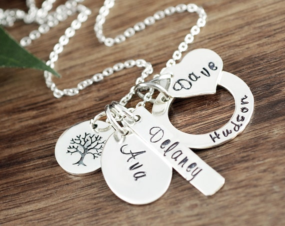Custom Name Necklace, Tree of Life Necklace, Grandmother's Charm Necklace, Personalized Name Necklace, Mother's Necklace, Mothers Day Gift
