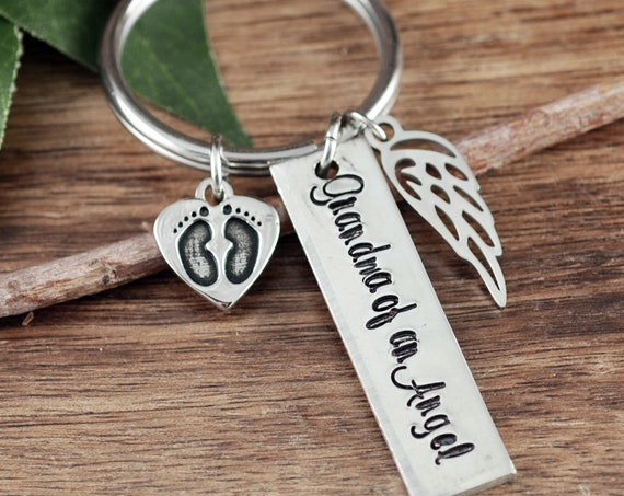 Angel Baby Keychain, Sympathy Gift for Dad, Miscarriage Keychain, Miscarriage Gift, Personalized Memorial Keychain, Daddy of an Angel Gift