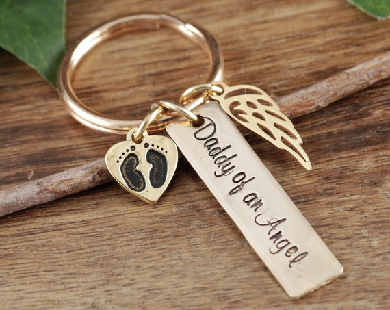 Angel Baby Keychain, Sympathy Gift for Dad, Miscarriage Keychain, Miscarriage Gift, Personalized Memorial Keychain, Daddy of an Angel Gift