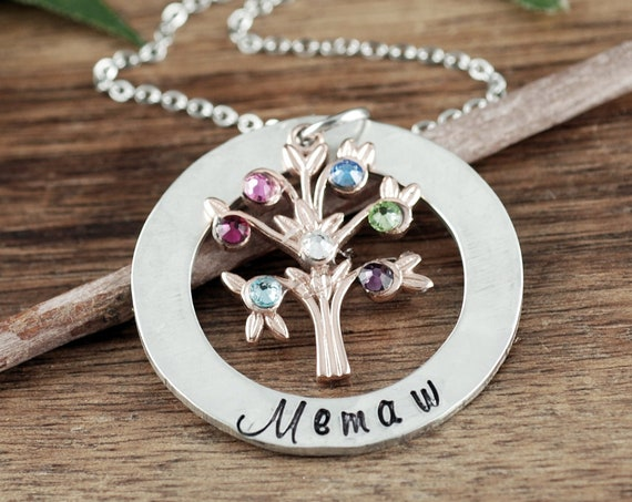 Grandma Necklace, Grandma Jewelry, Birthstone Family Tree Necklace, Nanny Necklace, Gift for Grandma, Grandma Gift, Mother's Day Gift