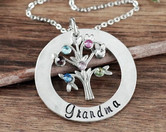 Silver Grandma Necklace, Grandma Jewelry, Birthstone Family Tree Necklace, Nanny Necklace, Gift for Grandma, Grandma Gift, Mother's Day Gift