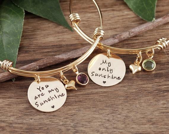 You Are My Sunshine Bracelet, My Only Sunshine Bracelet, Mother Daughter Bracelets, Gift for Her, Mother's Day Gift, Gift for Mom