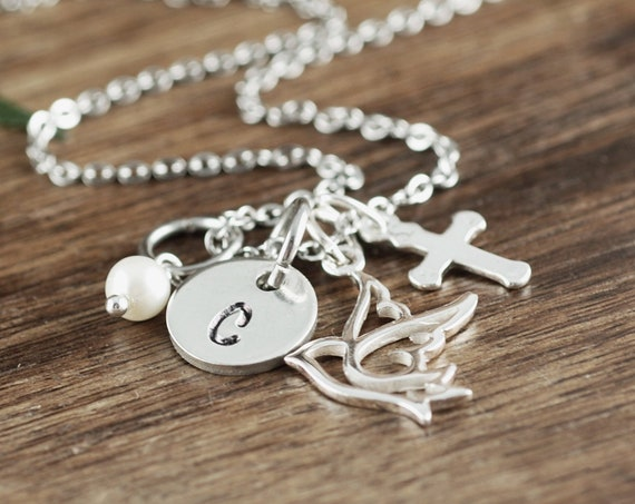 Personalized Communion Necklace, Confirmation Necklace, Confirmation Gift, Communion Gift, Girls Communion Gift, Initial Charm Necklace
