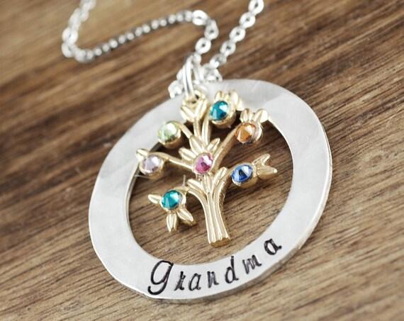 Grandmother Necklace, Grandma Jewelry, Birthstone Family Tree Necklace, Grandma Necklace, Gift for Grandma, Grandma Gift, Mother's Day Gift