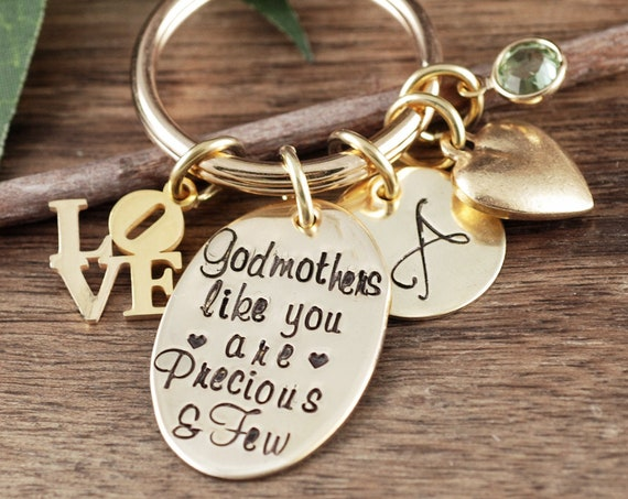 Godmother Keychain, Godmothers Like you are Precious and Few, Gold Godmother Gift, Godmother Jewelry, Christening Gift for Godmother