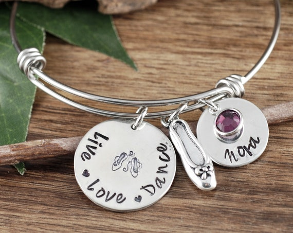 Personalized Dance Bracelet, Personalized Bangle Bracelet, Dancer Bracelet, Dance Teacher Gift, Gift for Dancer, Dancer Jewelry Gift