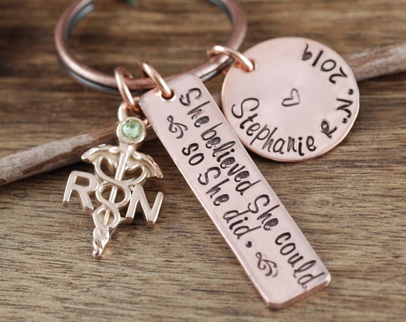 Personalized Nurse Graduation Gift, She believed she Could so She did, RN Keychain, Gift for RN Graduate, BSN Gift, Nurse Graduate Keychain